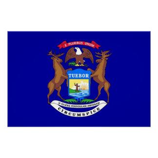 Patriotisches Wandplakat mit Flagge von Michigan Poster