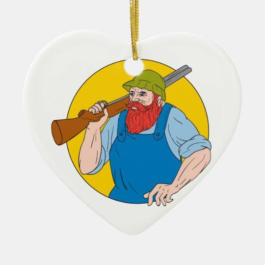 Paul Bunyan das Jäger-Kreis-Zeichnen Keramik Herz-Ornament