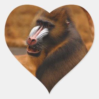 Pavian/Pavian Herz-Aufkleber