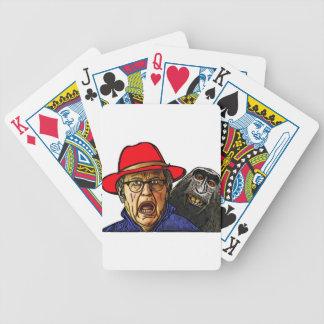 Pavianaffe erschrickt englischen alten Mann Bicycle Spielkarten