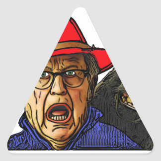 Pavianaffe erschrickt englischen alten Mann Dreieckiger Aufkleber