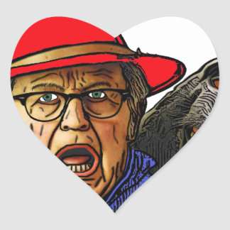 Pavianaffe erschrickt englischen alten Mann Herz-Aufkleber