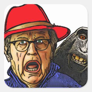 Pavianaffe erschrickt englischen alten Mann Quadratischer Aufkleber
