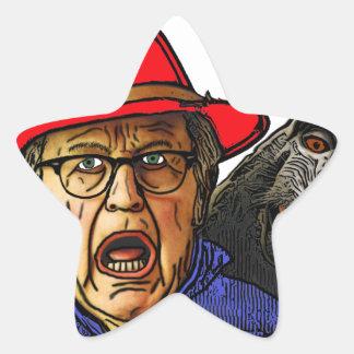 Pavianaffe erschrickt englischen alten Mann Stern-Aufkleber