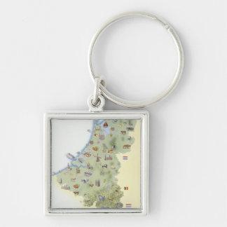Pays-Bas, carte montrant distinguant des caractéri Porte-clé Carré Argenté