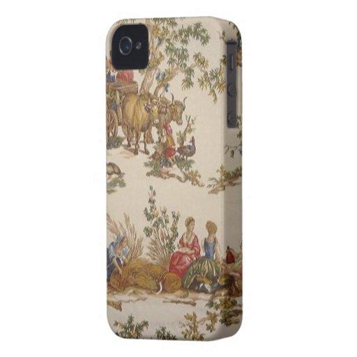 Pays français vintage Toile Blackberry audacieux Étui iPhone 4