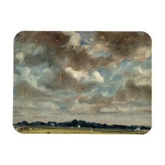 Paysage étendu avec les nuages gris, c.1821 (huile magnets en rectangle