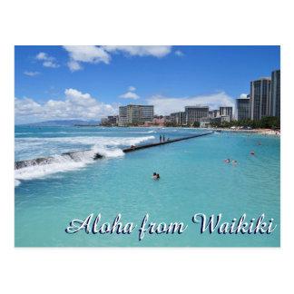 Pazifischer Ozean Wellen Waikiki Strand-Honolulus Postkarte