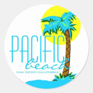Pazifischer Strand San Diego Runder Aufkleber