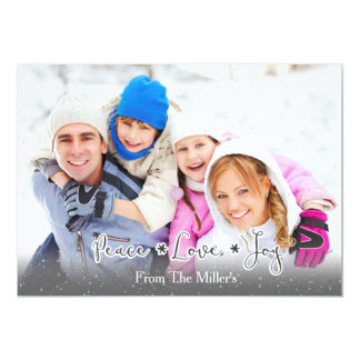 Peace.Love.Joy Familien-Foto-Feiertag Karte