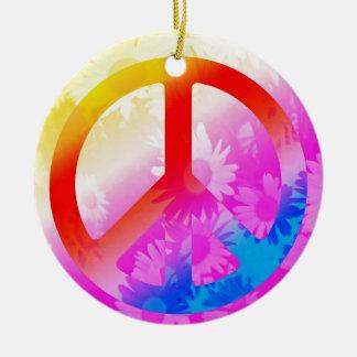 Peace Rundes Keramik Ornament