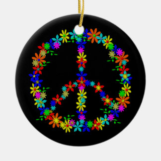 Peace Symbol Flower Power Keramik Ornament