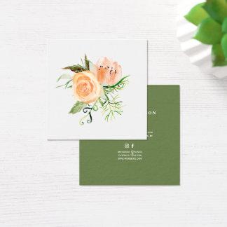 Peach gold green peony bouquet wedding planner quadratische visitenkarte