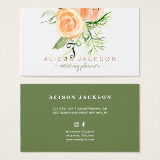 Peach gold green peony bouquet wedding planner visitenkarte