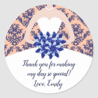 Peach Navy Blue Bridal Shower Gift Favor Label Runder Aufkleber