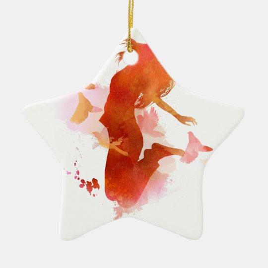 Peagon Blumeunicorn-Vogel Keramik Stern-Ornament