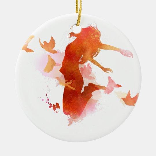 Peagon Blumeunicorn-Vogel Rundes Keramik Ornament