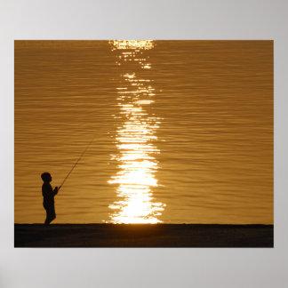 pêche de coucher du soleil d'impression de la toil posters