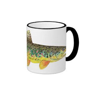 Pêche de truite de Brown Mugs À Café