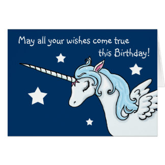 Pegasus-Einhorn wünscht Geburtstags-Karte Karte