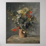Peinture de Pierre Auguste Renoir, fleurs dans un Poster