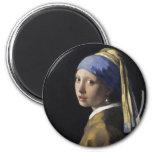 Peinture de Vermeer - fille avec une boucle d'orei Aimants Pour Réfrigérateur