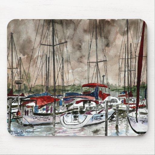 peinture des bateaux à voile à l'art de plage de p tapis de souris