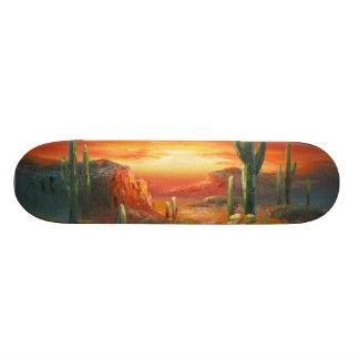 Peinture d'une peinture colorée de coucher du sole plateau de skateboard
