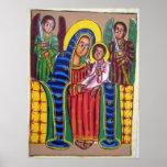 Peinture éthiopienne d'église - affiche noire de M