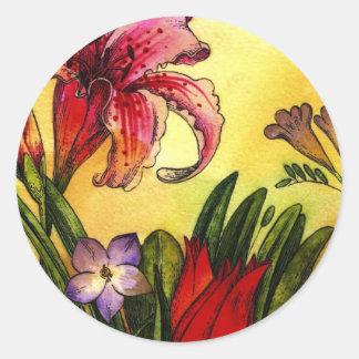 peinture lunatique d'aquarelle florale sticker rond