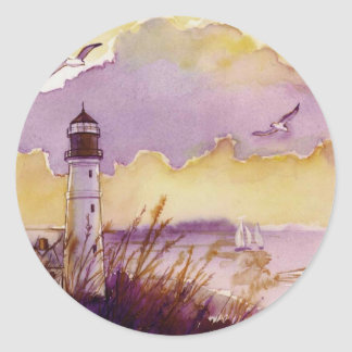 peinture lunatique de phare sticker rond