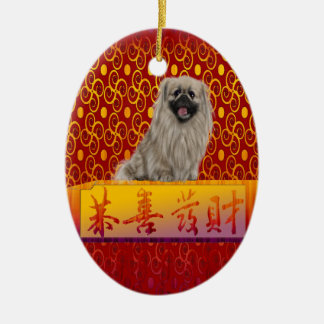 Pekingese Hund auf glücklichem Chinesischem Keramik Ornament