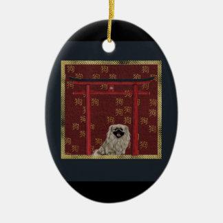 Pekingese Hund, roter asiatischer Bogen, Keramik Ornament