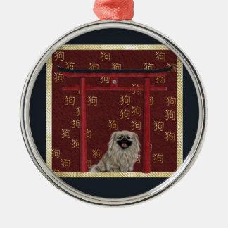 Pekingese Hund, roter asiatischer Bogen, Silbernes Ornament