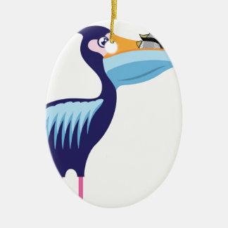 Pelikan abgeschieden mit Fischen Ovales Keramik Ornament