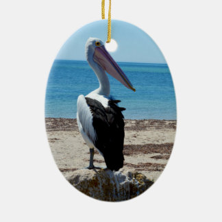 Pelikan auf Strand-Felsen, Keramik Ornament