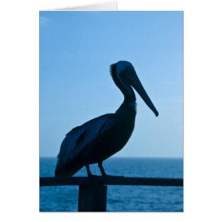 Pelikan-Blau/Gruß-Karte Karte