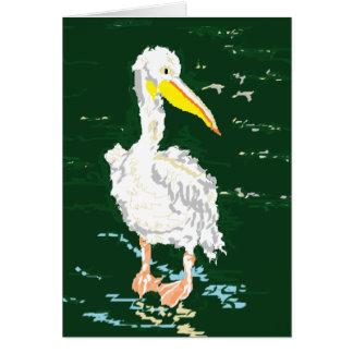 Pelikan, der alleinzeit genießt karte