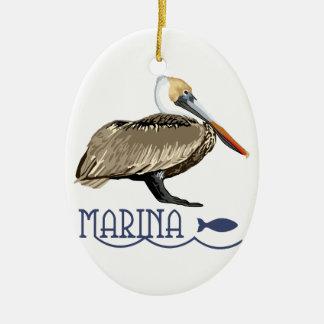 Pelikan-Jachthafen Ovales Keramik Ornament