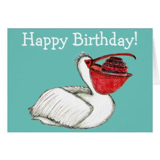 Pelikan mit Geburtstagskuchen Karte