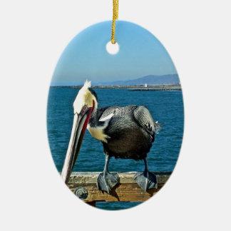 Pelikan Ovales Keramik Ornament