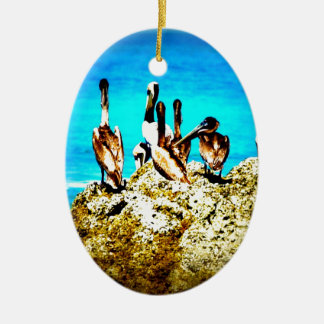Pelikan-Stange Ovales Keramik Ornament