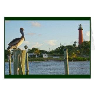 Pelikan und Leuchtturm Karte