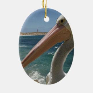 Pelikan, _Yorke_Peninsula, _Australia, _ Ovales Keramik Ornament