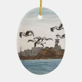 Pelikane, die dem Felsen, Alcatraz Insel San Fran Ovales Keramik Ornament