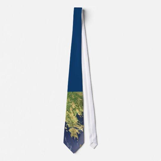 peloponnese greece satellite map blue - tie bedruckte krawatte