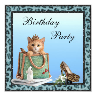 Pelz-Geburtstag Prinzessin-Kitten Blue Faux Quadratische 13,3 Cm Einladungskarte