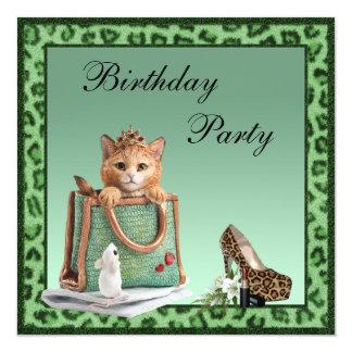 Pelz-Geburtstag Prinzessin-Kitten Green Faux Quadratische 13,3 Cm Einladungskarte