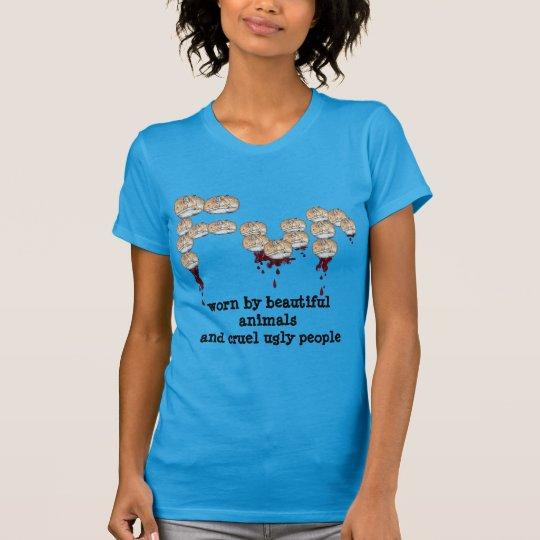 Pelz getragen von den schönen Tieren u. von den T-Shirt