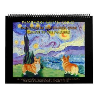 Pembroke-Walisercorgi-Kalender beherrscht Tribut Abreißkalender